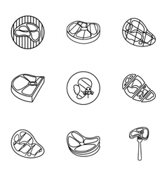 Meat icons set outline style vector