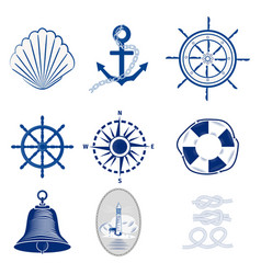Nautical templates set marine labels sea badges vector