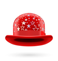 Red starred bowler hat vector