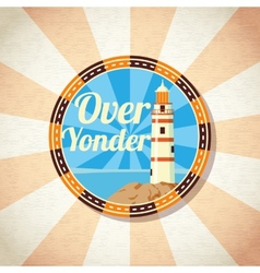 Retro badge with beacon on the shore vector image