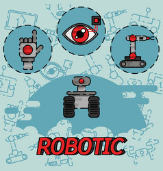 Robotic flat concept icons vector