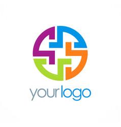 Round maze puzzle logo vector