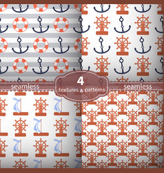 seamless pattern four pieces anchors and wheel vector image vector image