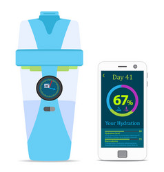 smart hydrate bottle with filter smartphone vector image vector image