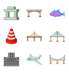 Suspended bridge icons set cartoon style vector
