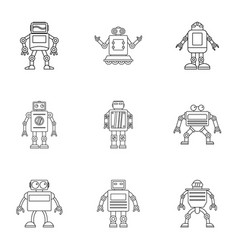 technology robot icons set outline style vector image