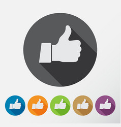 thumb up applique icons set flat style vector image vector image