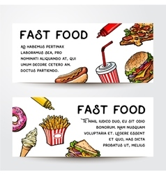 Two sketch style hand drawn fast food banner vector