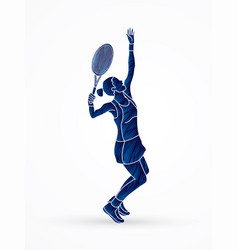 Woman tennis player sport woman action serve vector