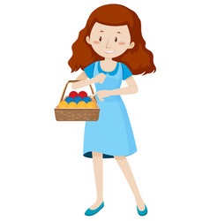 Woman with basket full of yarns vector