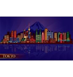 Tokyo city night skyline silhouette vector image