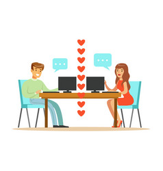 Young man and woman in love chatting sitting in vector