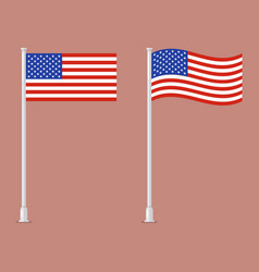 American flag on pole vector