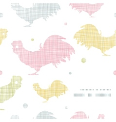 Abstract textile roosters frame corner pattern vector