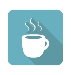 Square hot drink icon vector