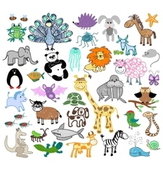 Childrens drawing doodle animals vector