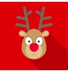 Christmas deer in flat style with long shadows vector