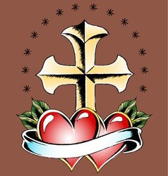 Cross and double heart vector