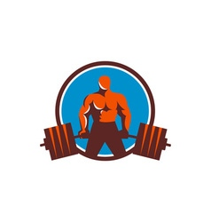 Weightlifter midlift circle retro vector