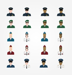 Set of policeman military pilot flight attendant vector