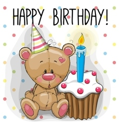 Bear with cake vector