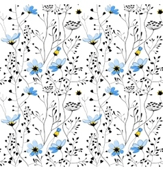 Wild plants and blue flower seamless pattern vector
