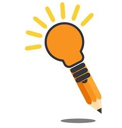 Pencil ligh bulb drop shadow creative idea concept vector