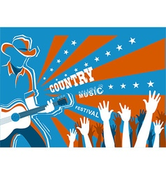 Country music concert with musician playing guitar vector
