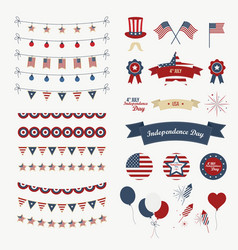 a set of design elements for independence day 4th vector image
