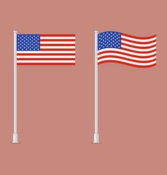 American flag on pole vector