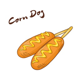 An isolated cartoon hand drawn fast food corn dog vector
