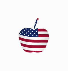 Apple with the american flag vector