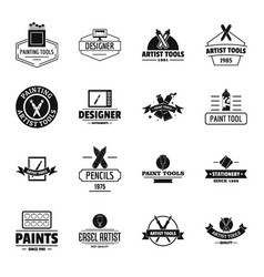 Artist tool logo icons set simple style vector