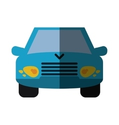 Blue car vehicle transport front view shadow vector