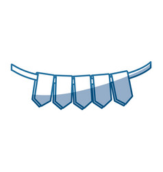 Blue color silhouette set of flags in a rope for vector