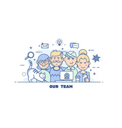 business people teamworkflat line design style vector image vector image