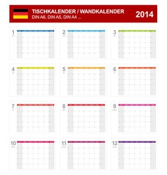 Calendar 2014 German Type 8 vector image vector image