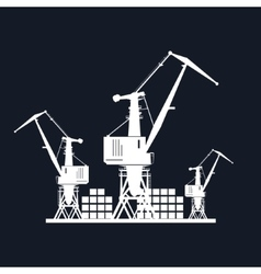 Cargo cranes isolated on black vector