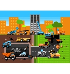Construction Machines Composition vector image vector image