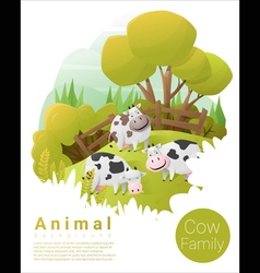 Cute animal family background with cows 2 vector