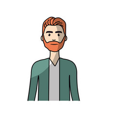 cute man with hairstyle and beard vector image vector image