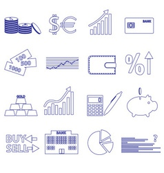 Financial and money blue outline icons set eps10 vector