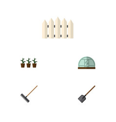 flat icon dacha set of harrow hothouse wooden vector image vector image