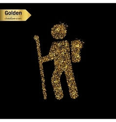 Gold glitter icon of hiker isolated on vector image vector image