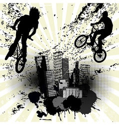 Grunge background with two bikers and city skyline vector image