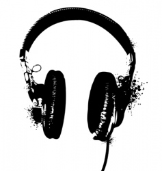 headphones stencil vector image
