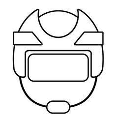 Hockey helmet icon outline style vector