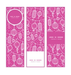 Holiday lanterns line art vertical banners set vector