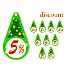 labels with Christmas tree for new years discounts vector image
