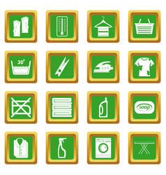 Laundry icons set green vector